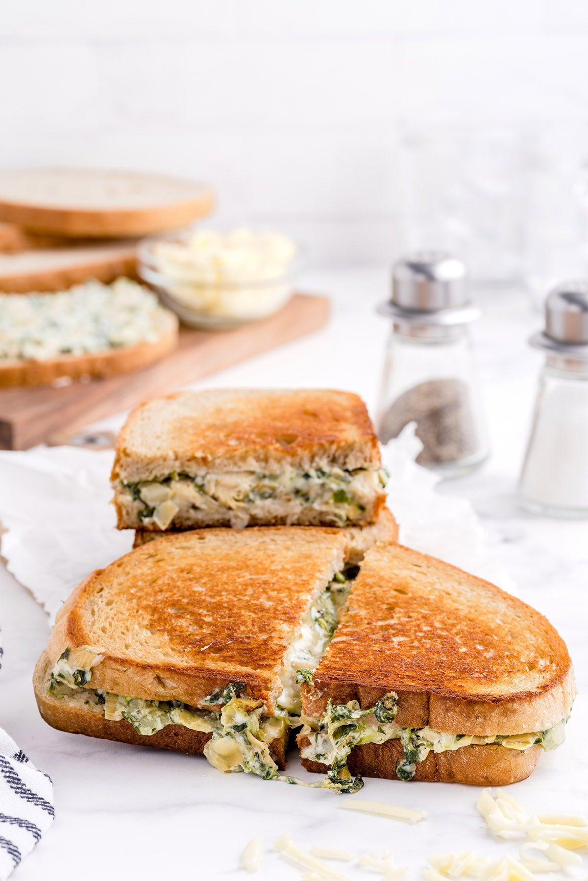 cut the sandwich in half