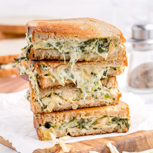 spinach and artichoke grilled cheese featured image