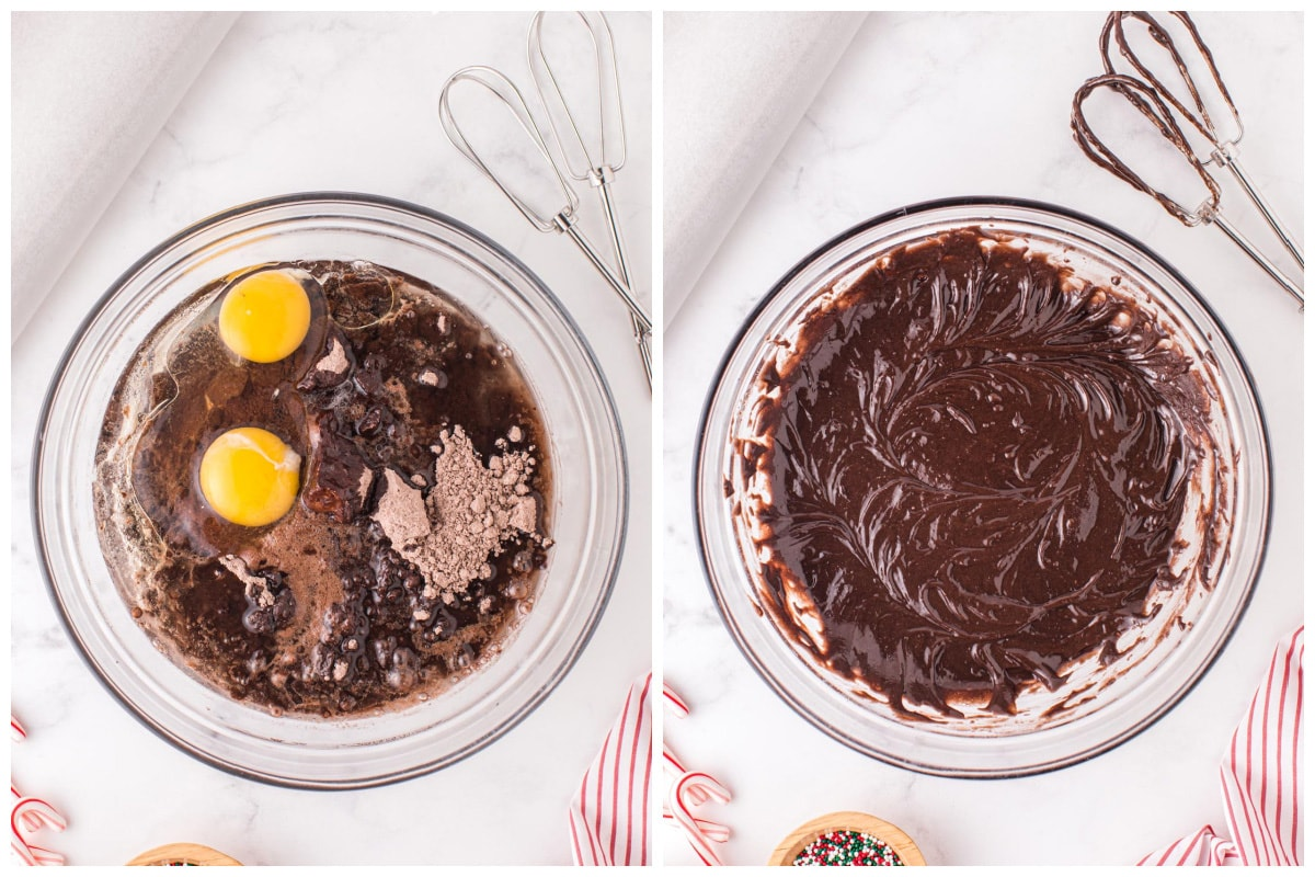Mix together the brownie mix, vegetable oil, eggs, and soda