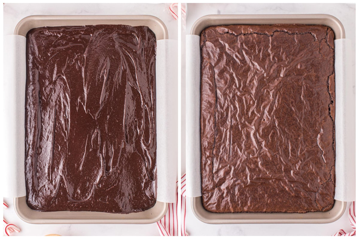 Pour brownie mixture into baking pan and bake