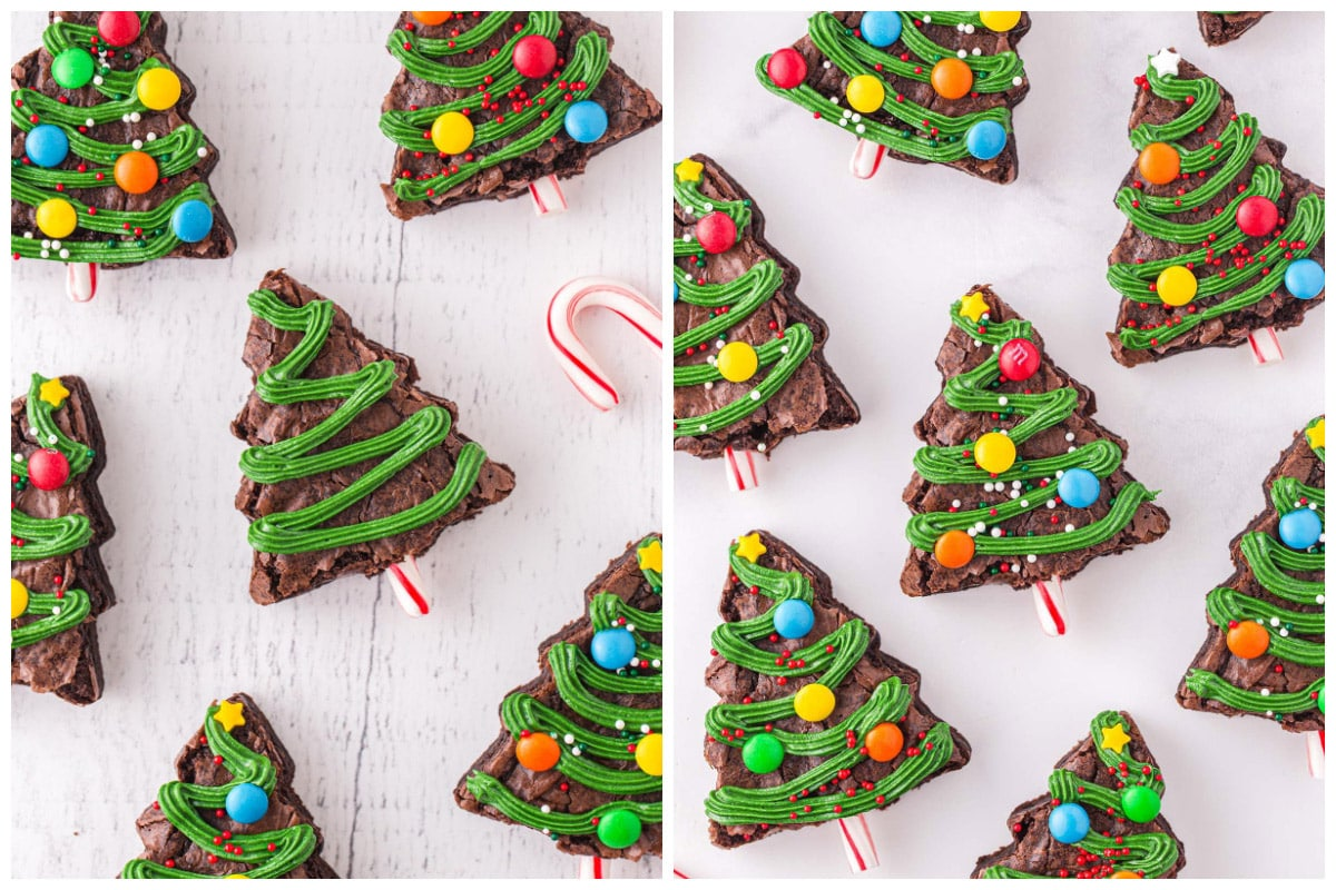 Pipe green frosting onto the trees and top with desired sprinkles and candy