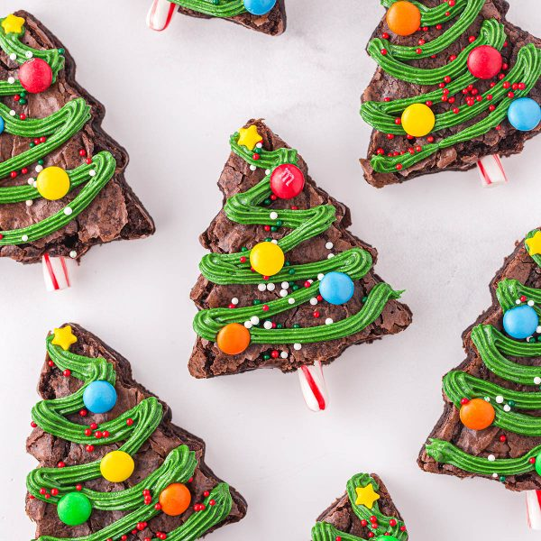 christmas tree brownies featured image