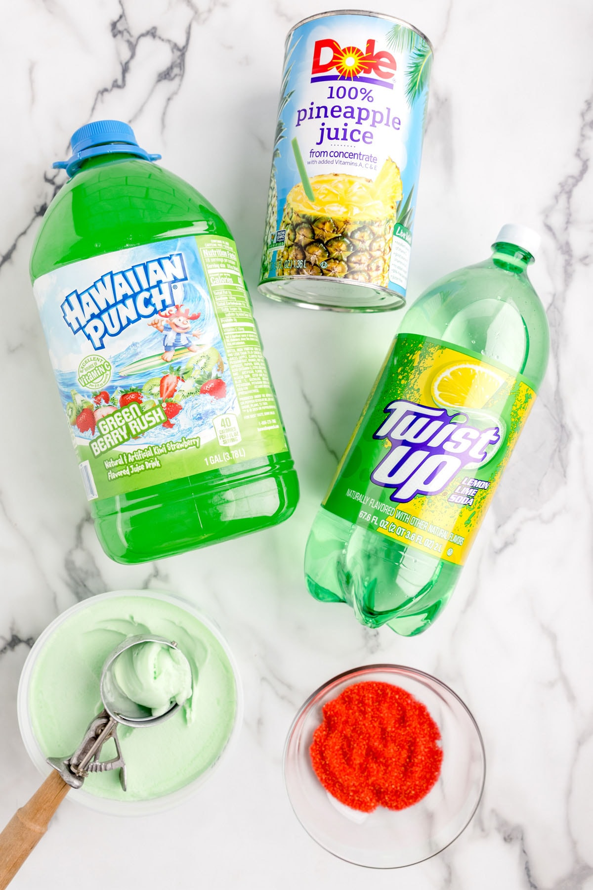 ingredients to make grinch punch